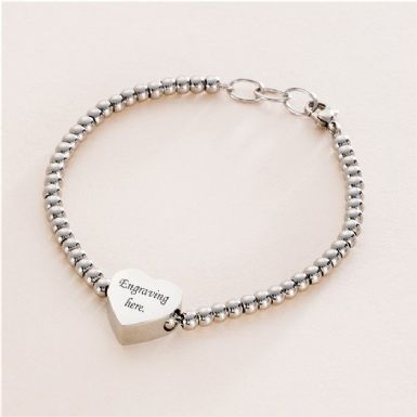 Memorial Bracelet with Engraved Charm Bead | Someone Remembered